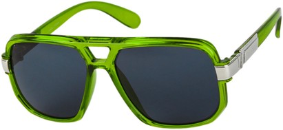 Angle of SW Oversized Aviator Style #1658 in Green Frame with Smoke Lenses, Women's and Men's