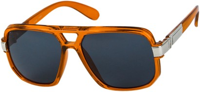 Angle of SW Oversized Aviator Style #1658 in Orange Frame with Smoke Lenses, Women's and Men's