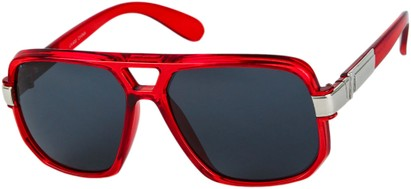 Angle of SW Oversized Aviator Style #1658 in Red Frame with Smoke Lenses, Women's and Men's