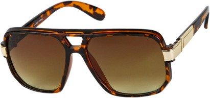 Angle of SW Oversized Aviator Style #1658 in Tortoise Frame with Amber Lenses, Women's and Men's