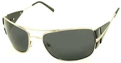 Angle of SW Polarized Aviator Style #4730 in Silver/Black Frame, Women's and Men's