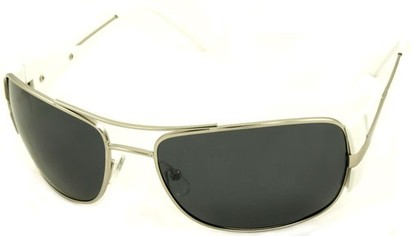 Angle of SW Polarized Aviator Style #4730 in Silver/White Frame, Women's and Men's