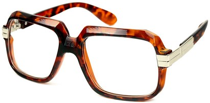 Angle of SW Oversized Clear Style #2272 in Tortoise Frame, Women's and Men's