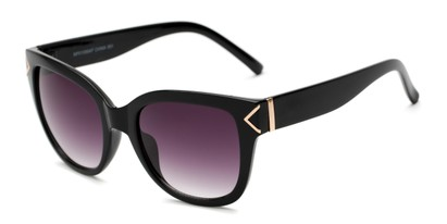 Angle of Lolita #1099 in Black Frame with Smoke Lenses, Women's Square Sunglasses
