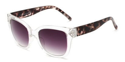 Angle of Lolita #1099 in Clear/Tortoise Frame with Smoke Lenses, Women's Square Sunglasses