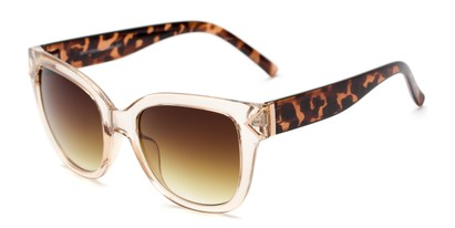 Angle of Lolita #1099 in Clear Tan/Tortoise Frame with Yellow Lenses, Women's Square Sunglasses
