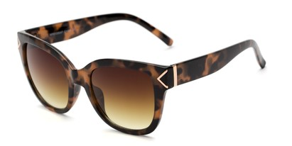 Angle of Lolita #1099 in Tortoise Frame with Yellow Lenses, Women's Square Sunglasses