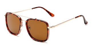 Angle of Wingman #15247 in Glossy Tortoise/Gold Frame with Amber Lenses, Women's and Men's Aviator Sunglasses