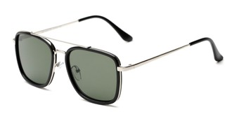 Angle of Wingman #15247 in Matte Black/Silver Frame with Green Lenses, Women's and Men's Aviator Sunglasses