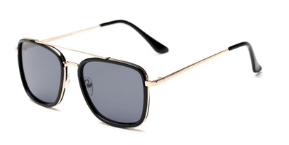 Angle of Wingman #15247 in Glossy Black/Gold Frame with Grey Lenses, Women's and Men's Aviator Sunglasses