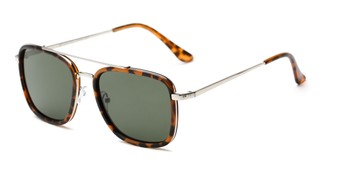 Angle of Wingman #15247 in Matte Tortoise/Silver Frame with Green Lenses, Women's and Men's Aviator Sunglasses