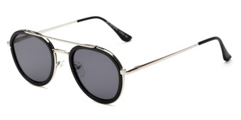 Angle of Brody #16870 in Matte Black Frame with Grey Lenses, Women's and Men's Round Sunglasses
