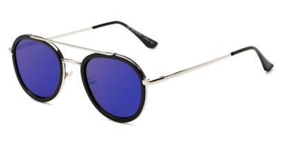 Angle of Brody #16870 in Glossy Black Frame with Blue Mirrored Lenses, Women's and Men's Round Sunglasses