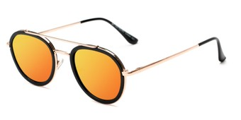 Angle of Brody #16870 in Glossy Black Frame with Orange Mirrored Lenses, Women's and Men's Round Sunglasses