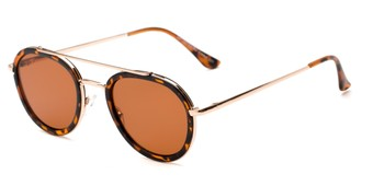 Angle of Brody #16870 in Matte Tortoise Frame with Amber Lenses, Women's and Men's Round Sunglasses