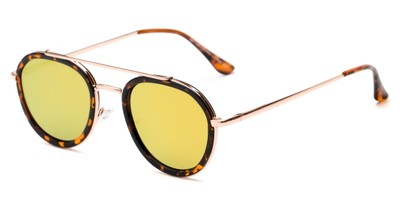 Angle of Brody #16870 in Glossy Tortoise Frame with Yellow Mirrored Lenses, Women's and Men's Round Sunglasses