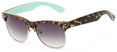 Angle of Kiso #1777 in Tortoise/Mint Frame with Smoke Lenses, Women's Browline Sunglasses