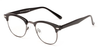 Angle of Scholar #1972 in Black/Grey, Women's and Men's Browline Fake Glasses