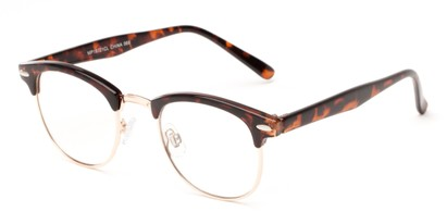 Angle of Scholar #1972 in Tortoise/Gold, Women's and Men's Browline Fake Glasses