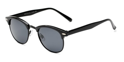 Angle of Henderson #19721 in Black Frame with Grey Lenses, Women's and Men's Browline Sunglasses