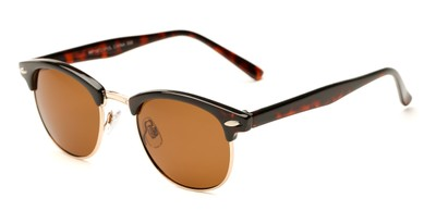 Angle of Henderson #19721 in Tortoise/Gold Frame with Amber Lenses, Women's and Men's Browline Sunglasses