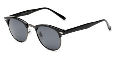 Angle of Henderson #19721 in Black/Grey Frame with Grey Lenses, Women's and Men's Browline Sunglasses