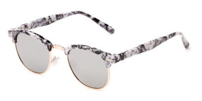 Angle of Rowan #1970 in Black/White Marbled Frame with Silver Mirrored Lenses, Women's Browline Sunglasses