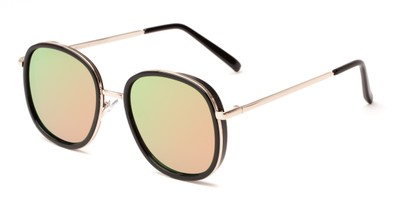 Angle of Rays #2231 in Black/Gold Frame with Green/Pink Mirrored Lenses, Women's Round Sunglasses