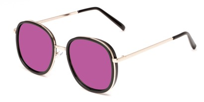 Angle of Rays #2231 in Black/Gold Frame with Pink Mirrored Lenses, Women's Round Sunglasses