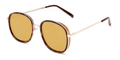 Angle of Rays #2231 in Tortoise/Gold Frame with Gold Mirrored Lenses, Women's Round Sunglasses