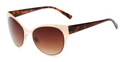 Angle of Starling #26870 in Gold/Tortoise Frame with Amber Lenses, Women's Cat Eye Sunglasses