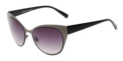 Angle of Starling #26870 in Grey/Black Frame with Smoke Lenses, Women's Cat Eye Sunglasses