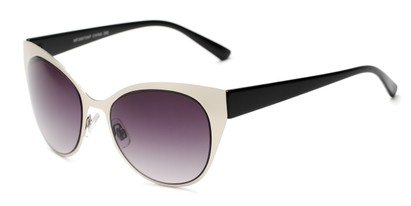 Angle of Starling #26870 in Silver/Black Frame with Smoke Lenses, Women's Cat Eye Sunglasses