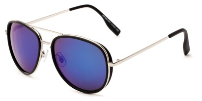 Angle of Cayuga #2687 in Black/Silver Frame with Blue Mirrored Lenses, Women's and Men's Aviator Sunglasses