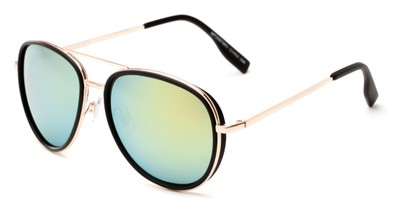 Angle of Cayuga #2687 in Black/Gold Frame with Green/Yellow Mirrored Lenses, Women's and Men's Aviator Sunglasses