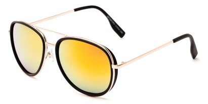 Angle of Cayuga #2687 in Black/Gold Frame with Orange Mirrored Lenses, Women's and Men's Aviator Sunglasses