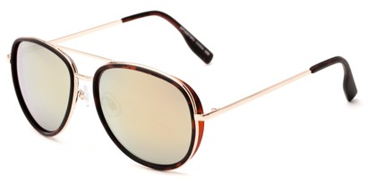 Angle of Cayuga #2687 in Tortoise/Gold Frame with Yellow Mirrored Lenses, Women's and Men's Aviator Sunglasses
