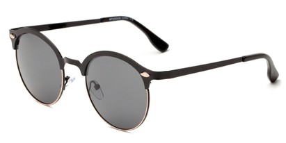 Angle of Wellington #329 in Black/Gold Frame with Smoke Lenses, Women's and Men's Round Sunglasses