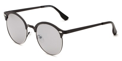 Angle of Wellington #329 in Black/Grey Frame with Grey Lenses, Women's and Men's Round Sunglasses
