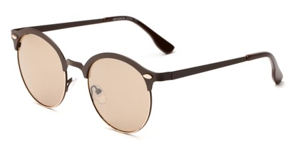 Angle of Wellington #329 in Brown/Gold Frame with Brown Lenses, Women's and Men's Round Sunglasses