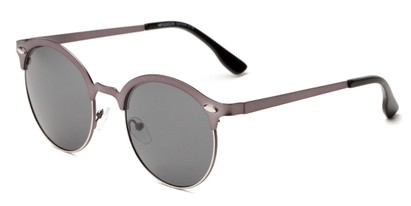 Angle of Wellington #329 in Grey Frame with Smoke Lenses, Women's and Men's Round Sunglasses
