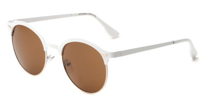 Angle of Wellington #329 in White/Gold Frame with Amber Lenses, Women's and Men's Round Sunglasses