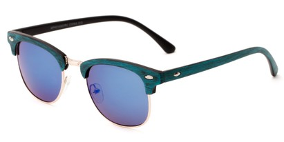 Angle of Sutro #4014 in Blue/Gold Frame with Blue Lenses, Women's and Men's Browline Sunglasses