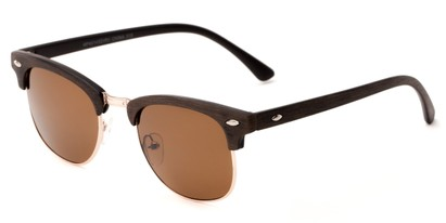 Angle of Sutro #4014 in Brown/Gold Frame with Amber Lenses, Women's and Men's Browline Sunglasses