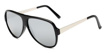 Angle of Redding #5180 in Glossy Black Frame with Silver Mirrored Lenses, Men's Aviator Sunglasses