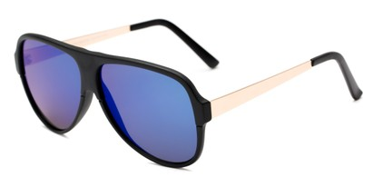 Angle of Redding #5180 in Matte Black Frame with Blue Mirrored Lenses, Men's Aviator Sunglasses