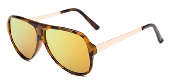 Angle of Redding #5180 in Glossy Tortoise Frame with Orange/Yellow Mirrored Lenses, Men's Aviator Sunglasses
