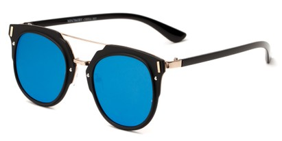 Angle of Noosa #6705 in Black/Gold Frame with Blue Mirrored Lenses, Women's and Men's Round Sunglasses