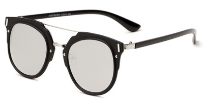 Angle of Noosa #6705 in Black/Silver Frame with Silver Mirrored Lenses, Women's and Men's Round Sunglasses