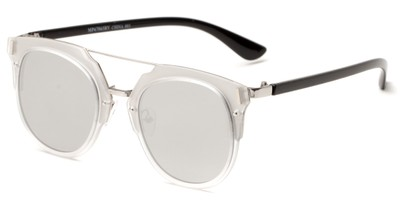 Angle of Noosa #6705 in Clear/Silver Frame with Silver Mirrored Lenses, Women's and Men's Round Sunglasses